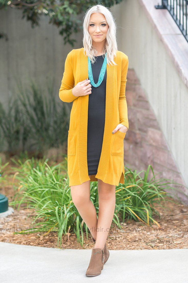 Making It Happen Open Long Cardigan With Pockets In Mustard - Filly Flair