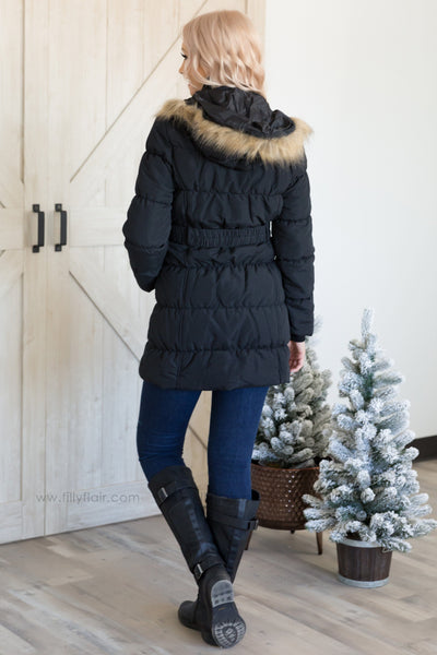 Black Lady Anorak Jacket with Faux Fur Hood - Filly Flair