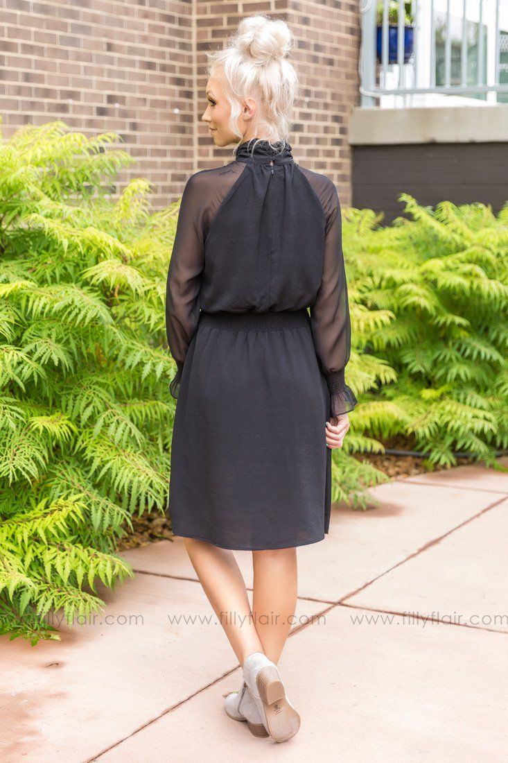 Power of Love Long Sleeve Dress in Black - Filly Flair