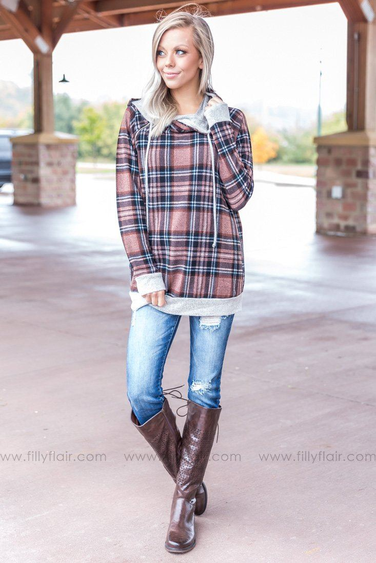 Plaid Wonder Double Hoodie in Mauve - Filly Flair