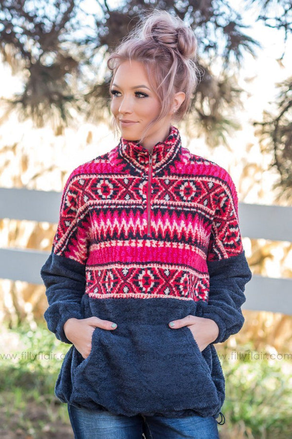 Chilly Mornings Aztec Fleece Pullover in Navy - Filly Flair