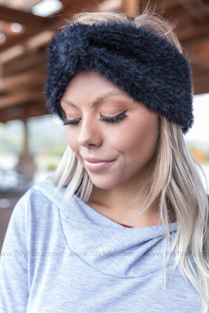 Keep Me Warm Ultra Soft Bow Headband in Black - Filly Flair