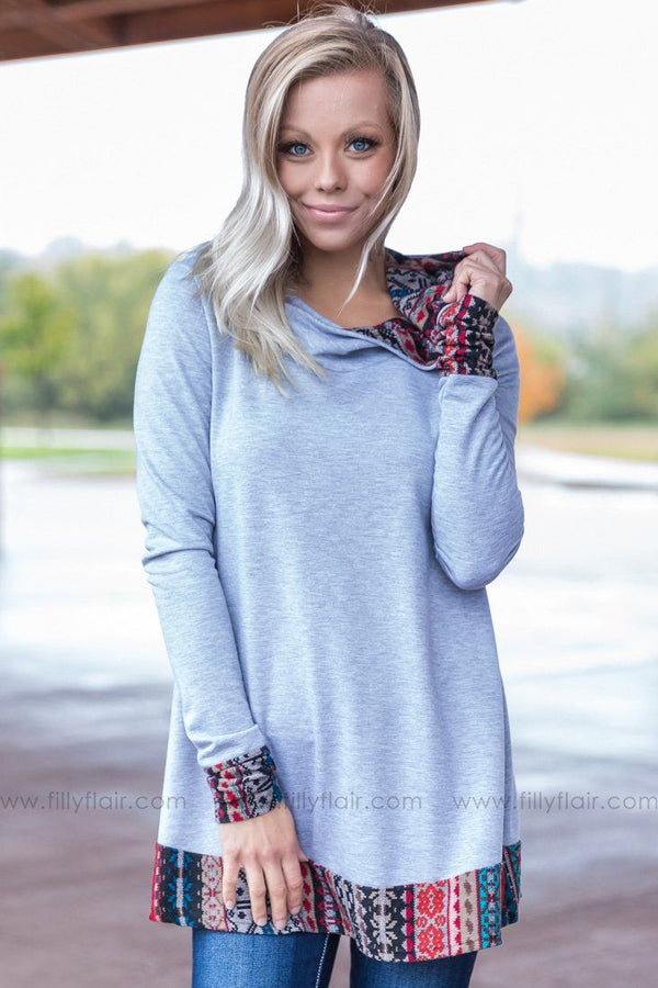 All It Takes Aztec Detail Long Sleeve Tunic in Heather Grey - Filly Flair