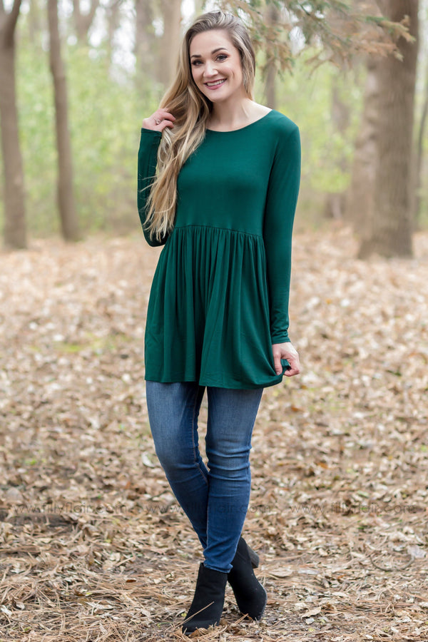 In Too Deep Long Sleeve Babydoll Top In Hunter Green - Filly Flair