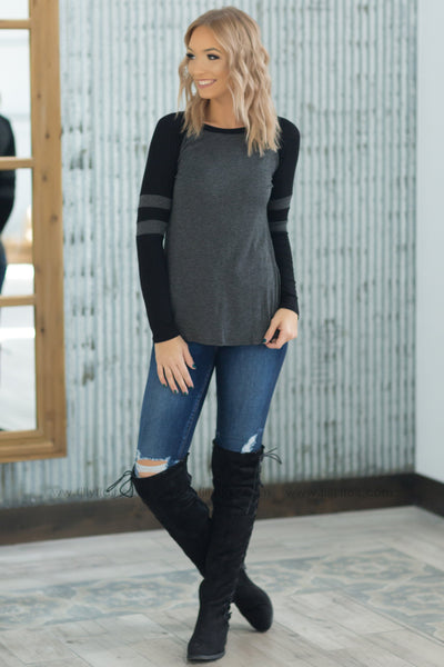 Out of Here Long Sleeve Baseball Top in Charcoal Black* - Filly Flair