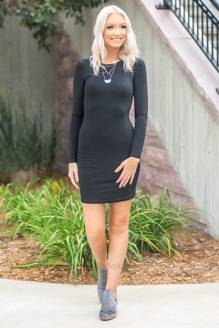 There She Goes Long Sleeve Bodycon Dress in Black