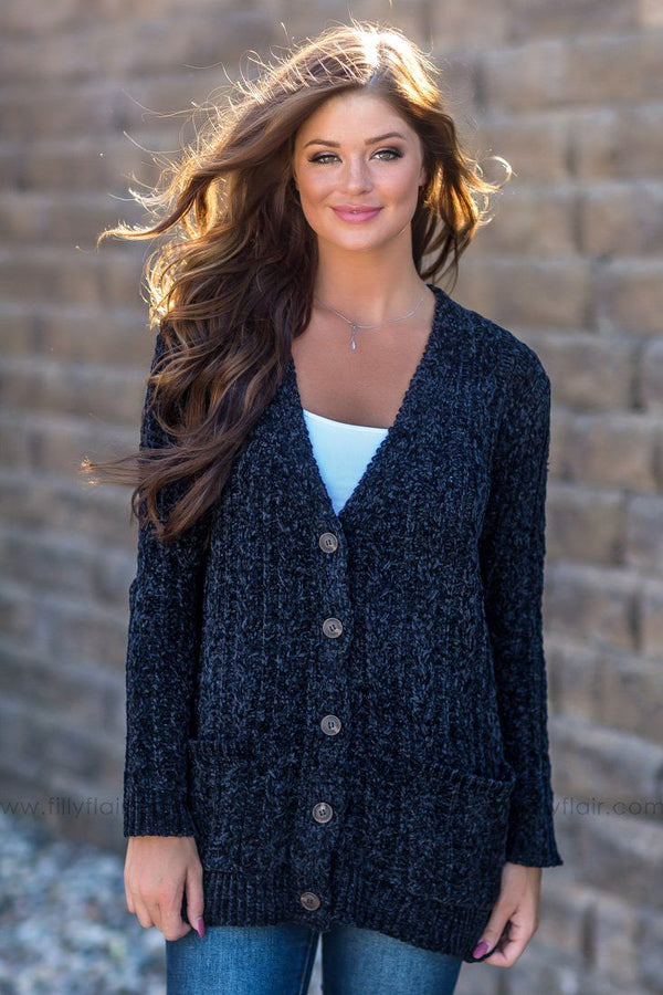 No Cover Long Sleeve Button Up Cardigan In Black - Filly Flair