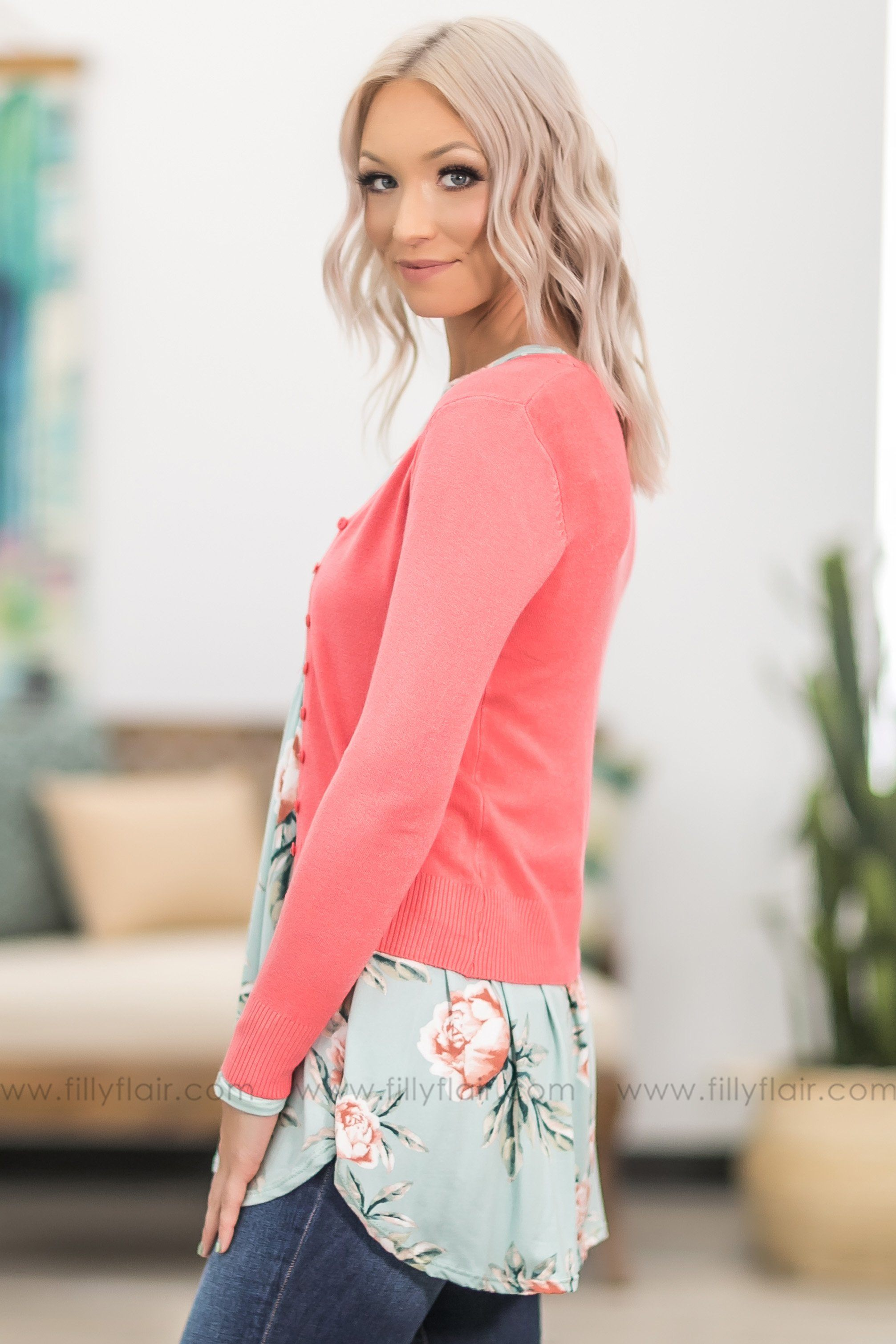 Love Who You Are Long Sleeve Button Up Cardigan in Coral - Filly Flair