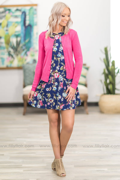 Love Who You Are Long Sleeve Button Up Cardigan in Hot Pink - Filly Flair