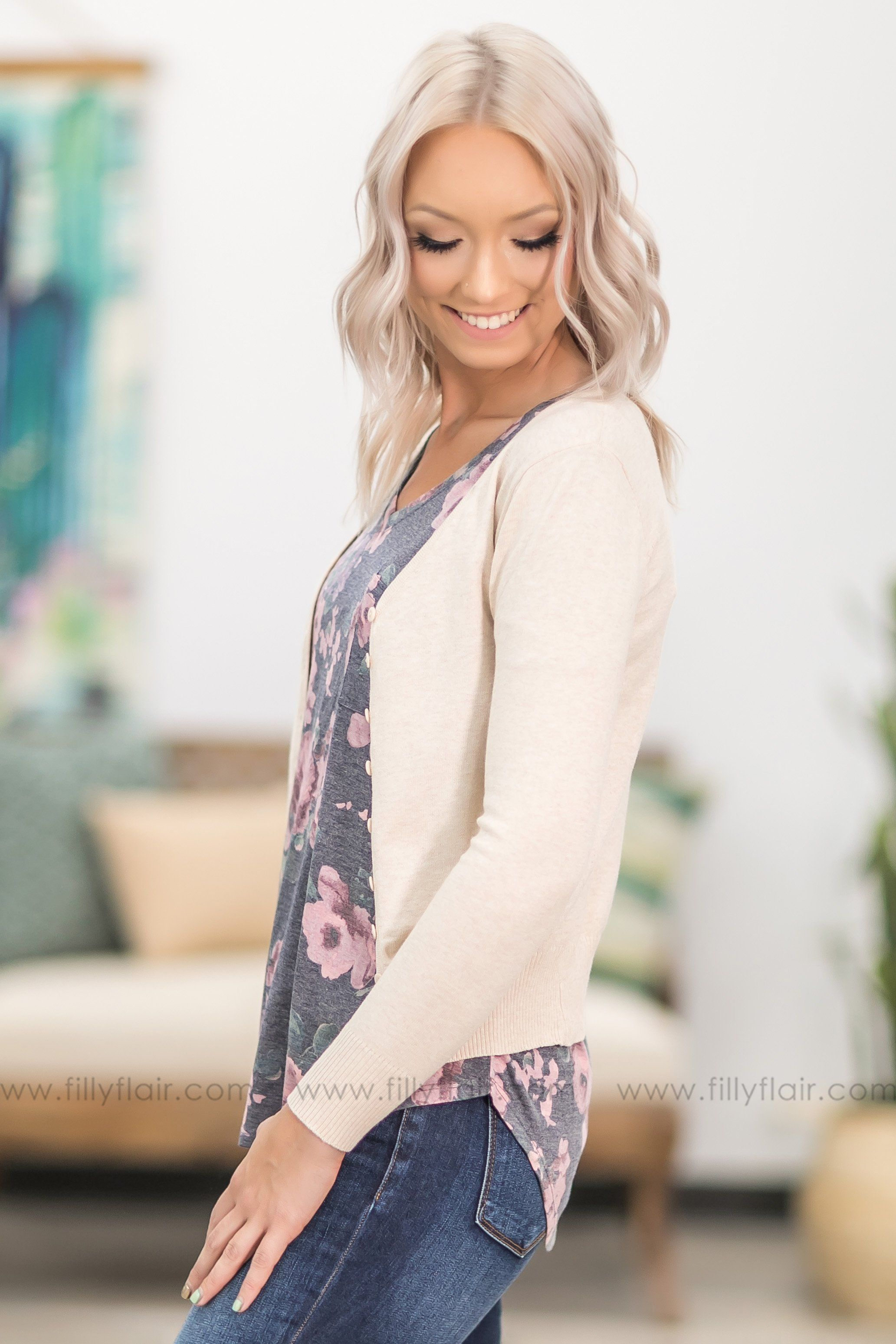 Love Who You Are Long Sleeve Button Up Cardigan in Oatmeal - Filly Flair