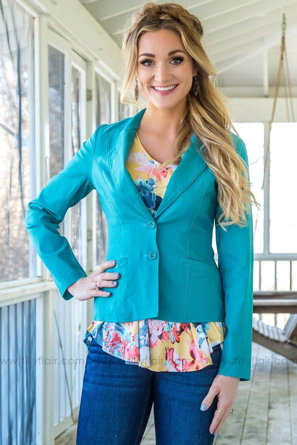 Leave Your Mark Button Up Pocket Blazer In Teal - Filly Flair