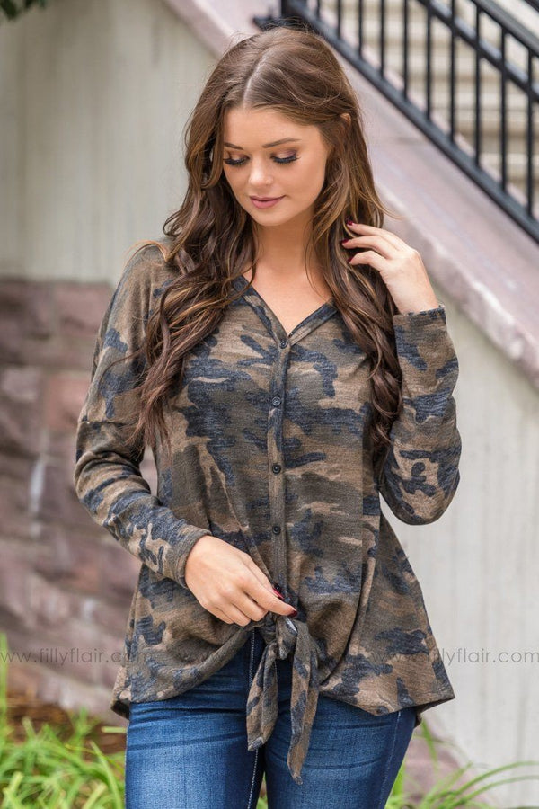 Caught Up In The Country Button Knot Top In Camo - Filly Flair