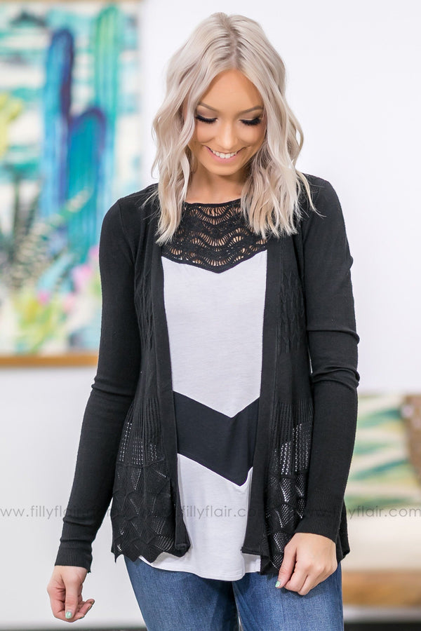 Forever and Ever Long Sleeve Open Pointelle Cardigan in Black - Filly Flair