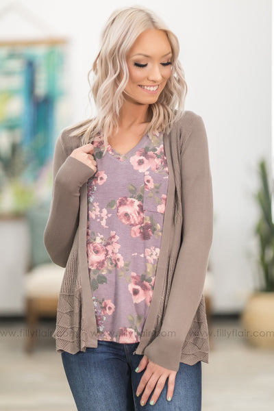 Forever and Ever Long Sleeve Open Pointelle Cardigan in Mocha - Filly Flair