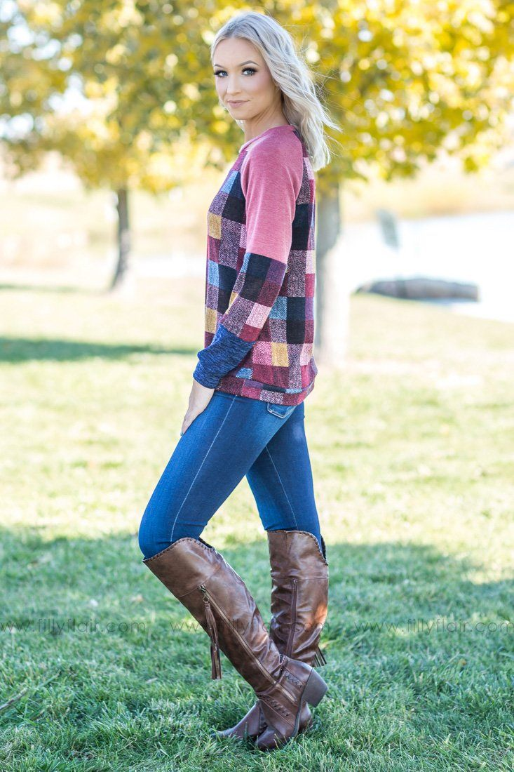 Come Tomorrow Long Sleeve Checkered Top in Mauve - Filly Flair