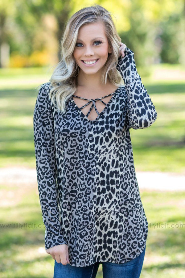 Keep You Close Leopard Cross Front Top In Grey Ivory - Filly Flair