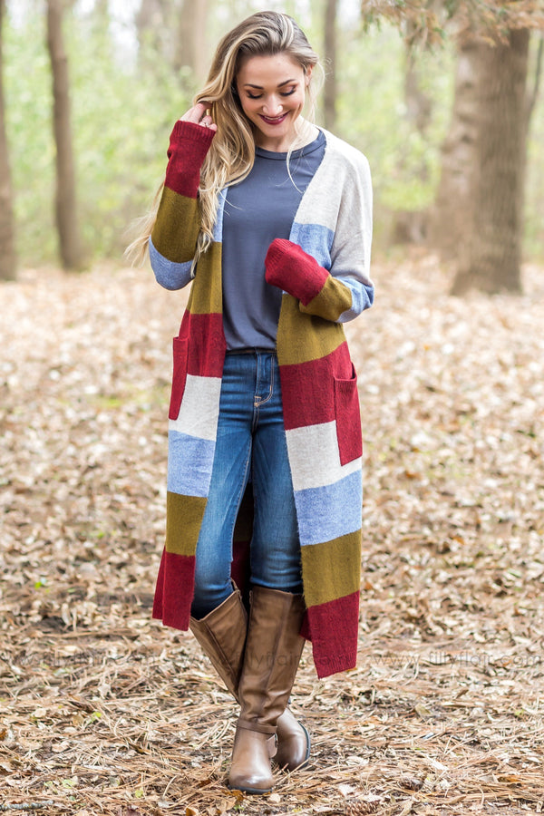 Get You Closer Long Sleeve Multi-Color Block Sweater Cardigan* - Filly Flair