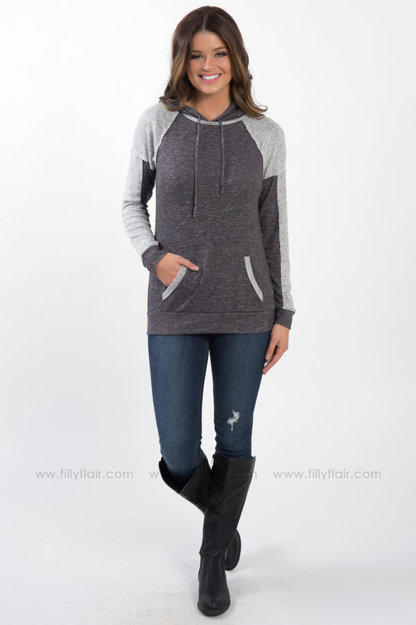 Find Yourself Color Block Hooded Top In Charcoal Grey - Filly Flair