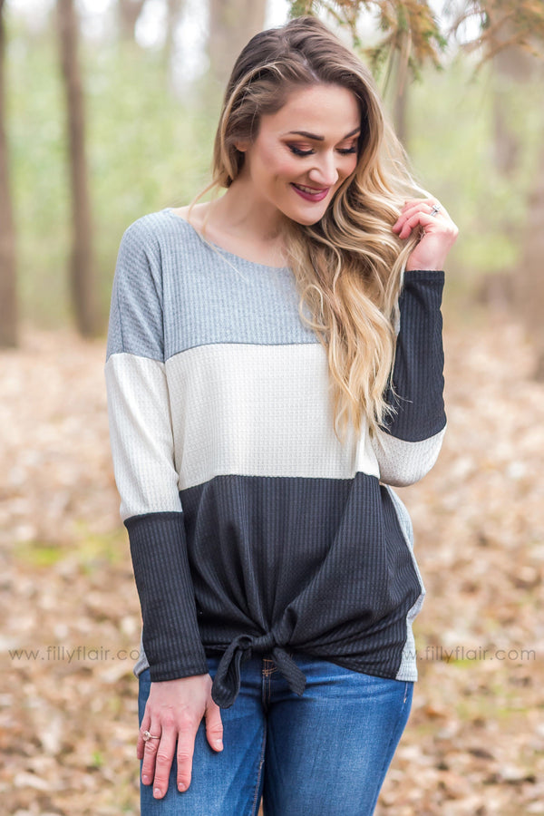 Everyday Moments Color Block Waffle Tie Top in Grey Ivory Black - Filly Flair