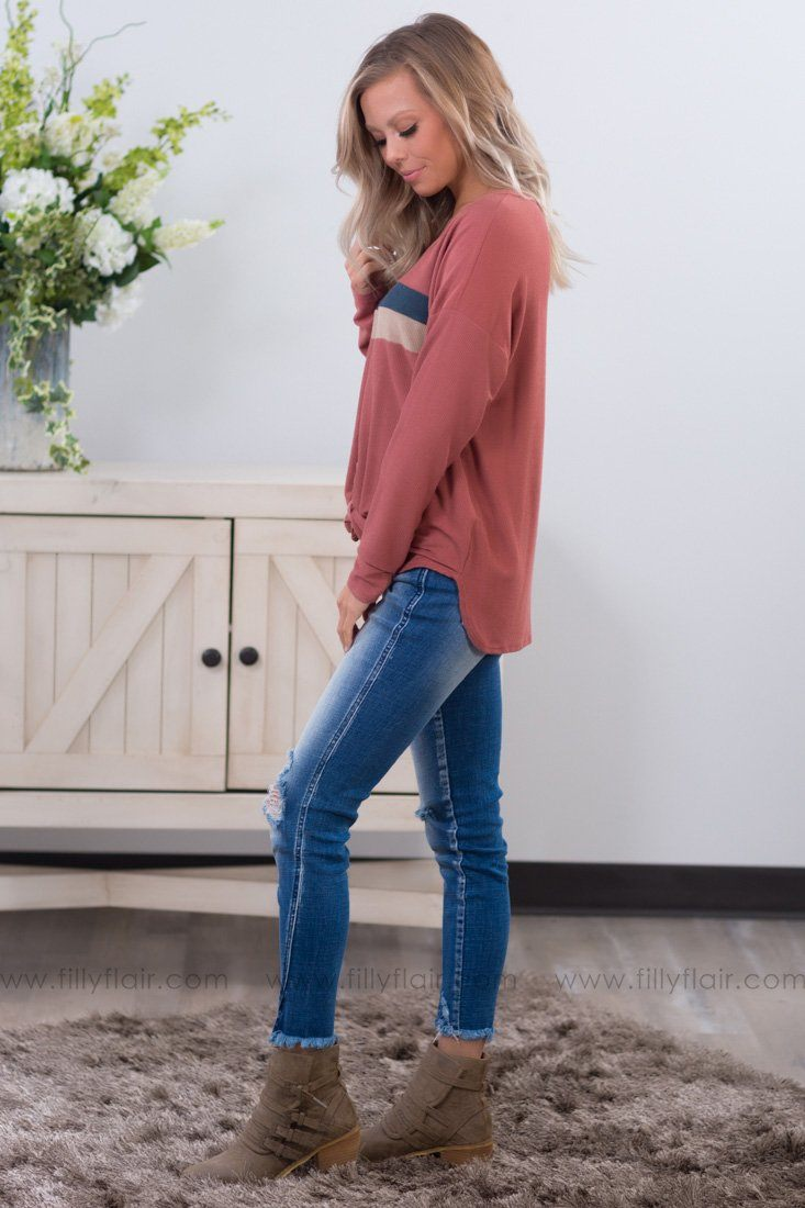 Follow Along Long Sleeve Button Knotted Top In Marsala - Filly Flair