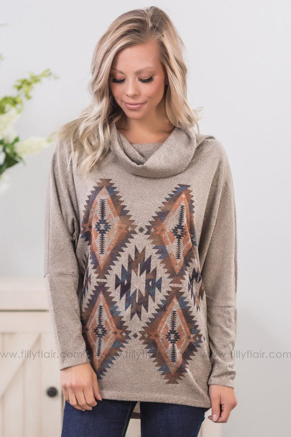 *Down The Road Aztec Dolman Cowl Neck Top in Taupe* - Filly Flair