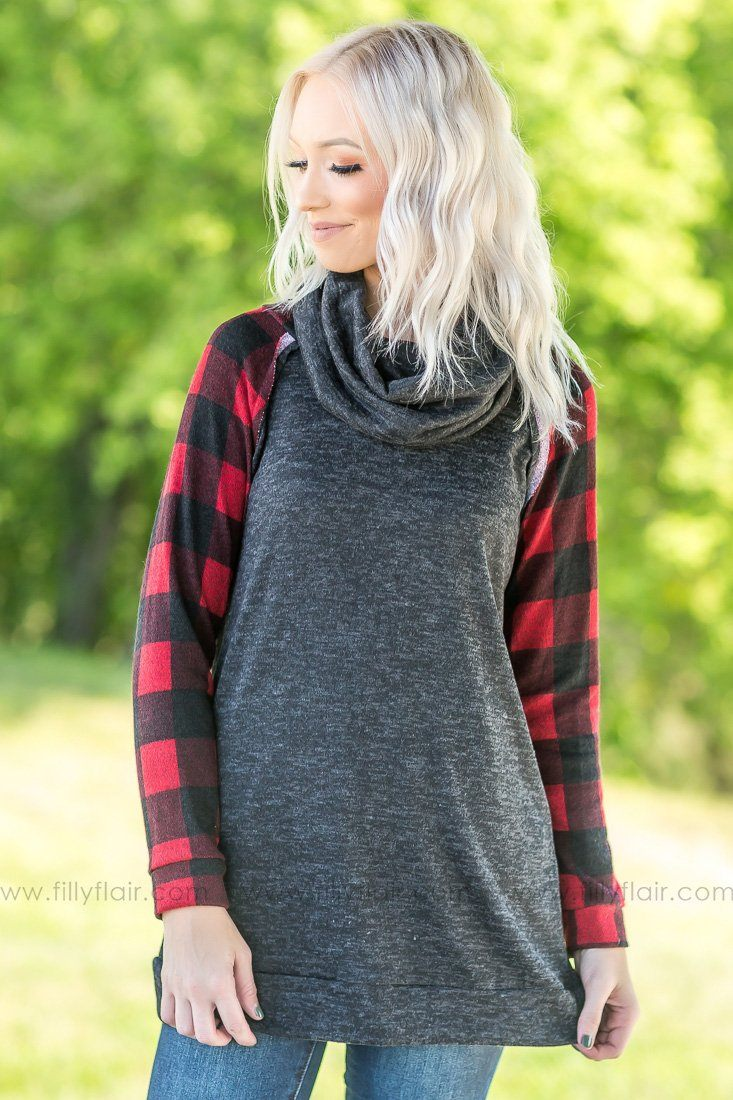 It's a New Day Buffalo Plaid Long Sleeve Cowl Neck Top - Filly Flair
