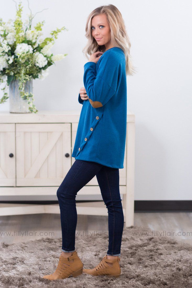 All Together Long Sleeve Elbow Patch Top In Blue - Filly Flair