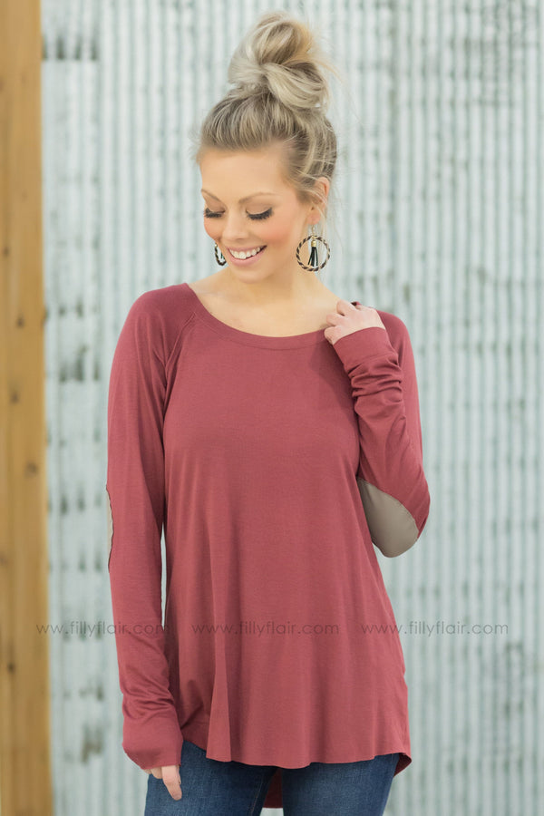 Come Around Long Sleeve Top With Brown Elbow Patches in Marsala - Filly Flair