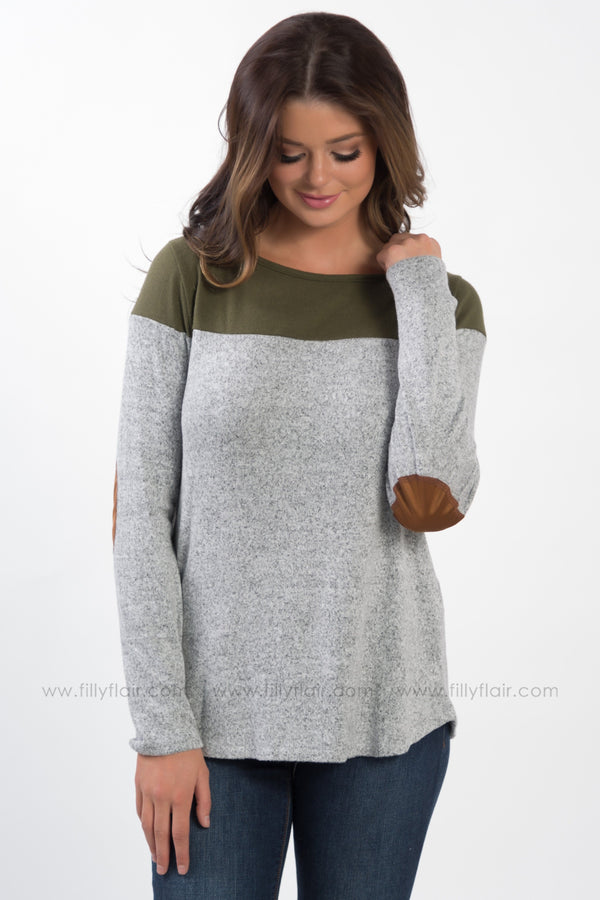 Take My Cares Away Elbow Patch Back Button Top In Olive Grey - Filly Flair