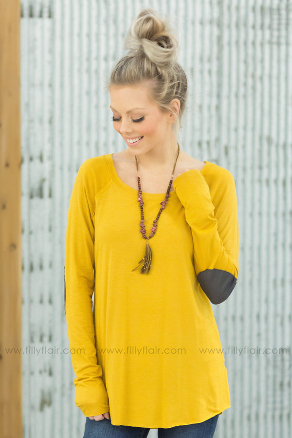 Come Around Long Sleeve Top With Brown Elbow Patches in Mustard - Filly Flair