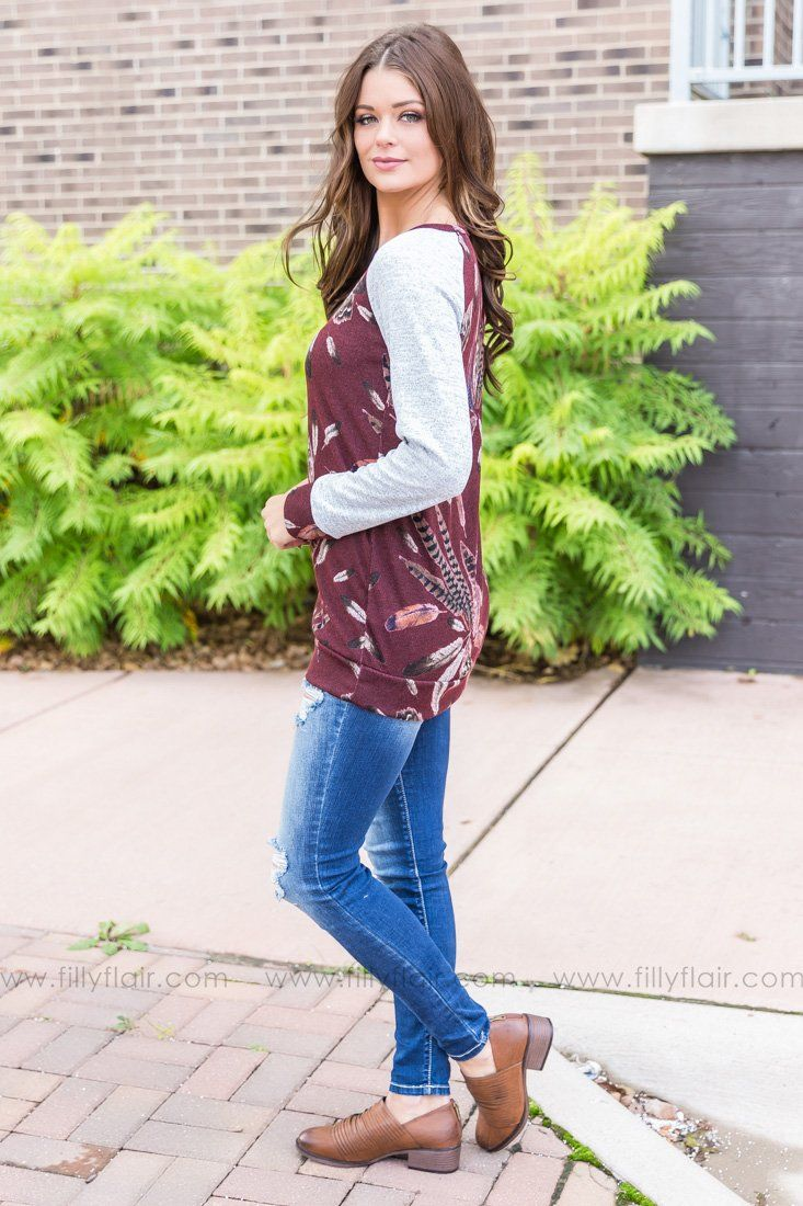 Makes Me Wonder Long Sleeve Feather Top In Burgundy - Filly Flair