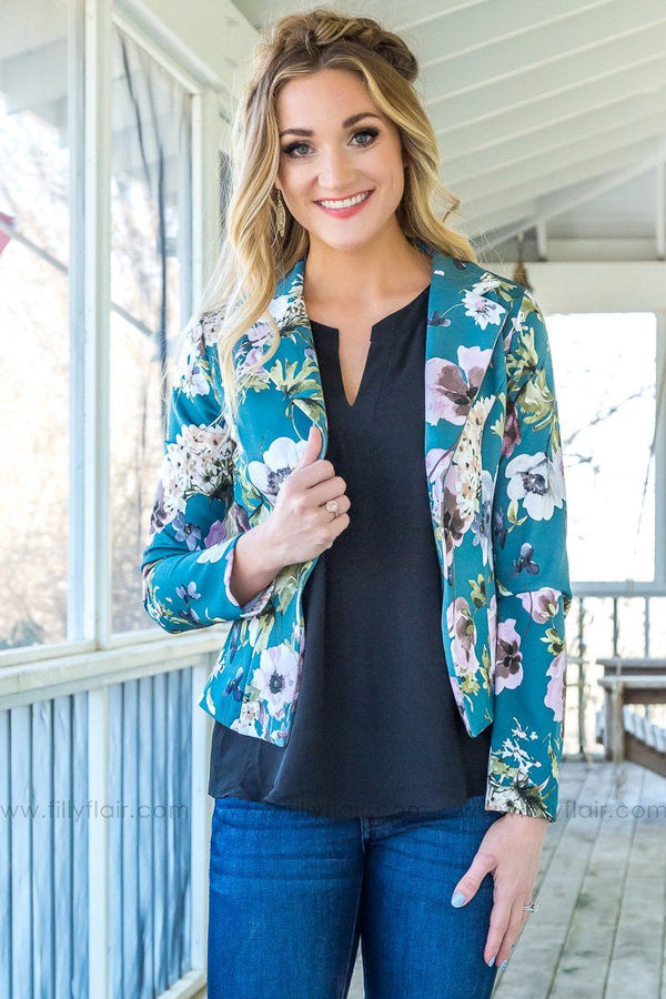 Picking Up The Slack Long Sleeve Floral Blazer In Teal