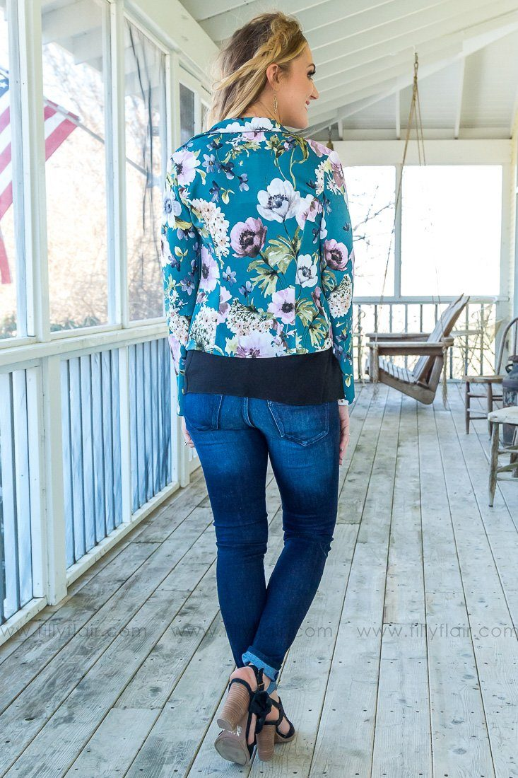Picking Up The Slack Long Sleeve Floral Blazer In Teal - Filly Flair