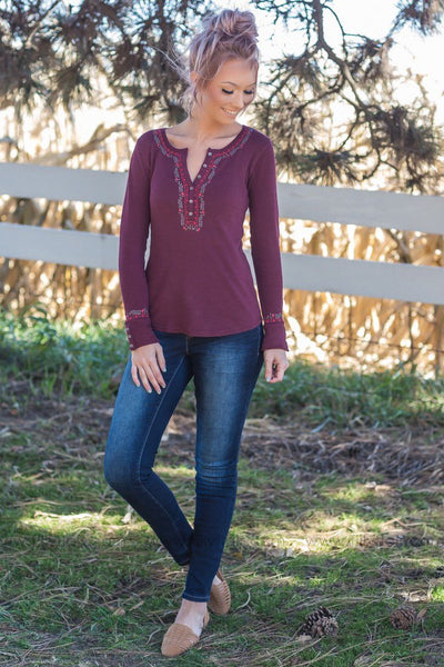 Follow Along Lucky Floral Trim Top In Burgundy - Filly Flair