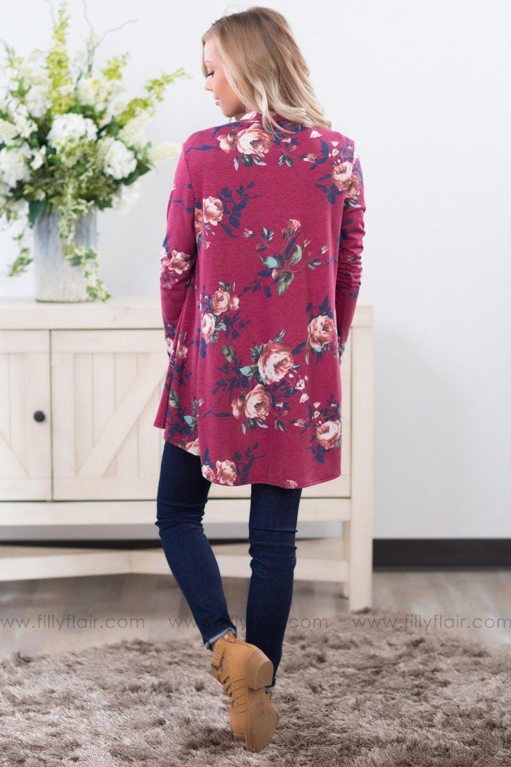 Rose Waterfall Cardigan in Wine Floral - Filly Flair