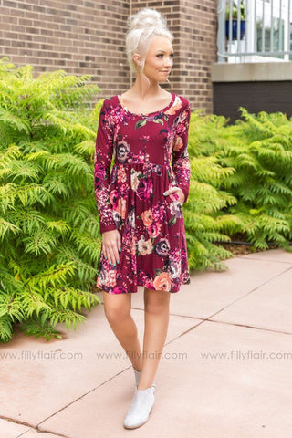 Like Me Better Floral Bell Sleeve Body Con Dress In Rose Gold Black