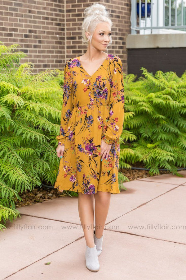Stay Right Here Floral Dress In Mustard - Filly Flair