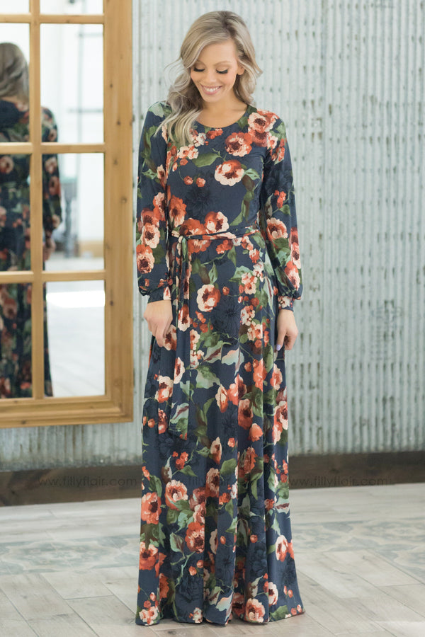 Just A Little Long Sleeve Floral Tie Maxi Dress In Slate Blue - Filly Flair