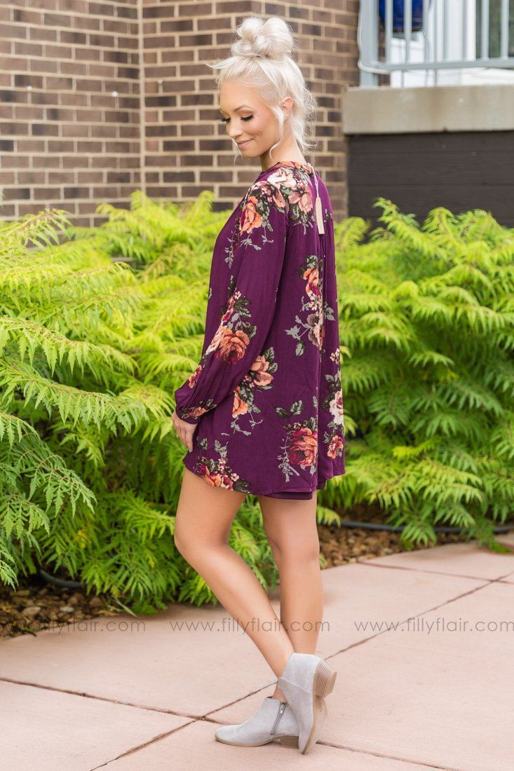 With Me Again Long Sleeve Floral Dress In Eggplant - Filly Flair