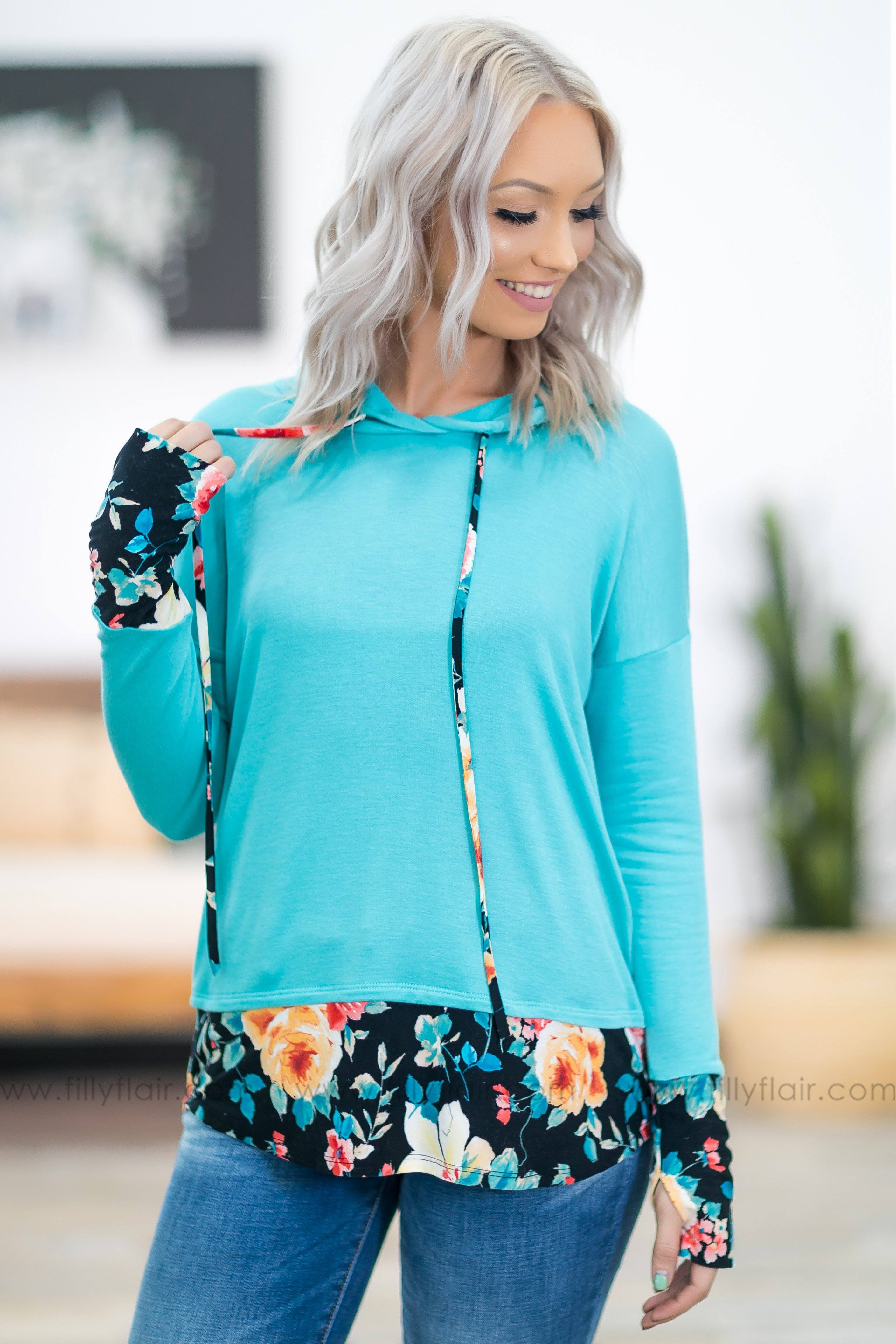 Hold Me Up Floral Hem and Cuff Hoodie in Turquoise - Filly Flair