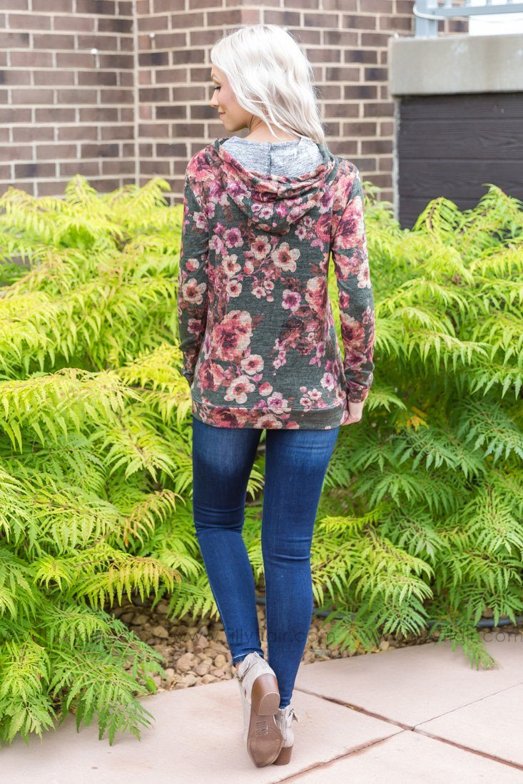 It Cannot Wait Floral Hoodie In Dark Olive - Filly Flair