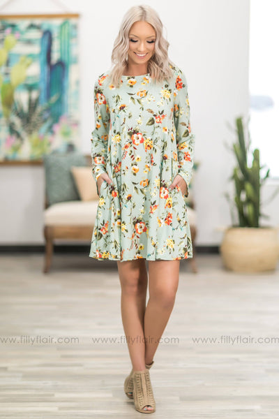 She's On Her Way Long Sleeve Floral Dress in Mint - Filly Flair