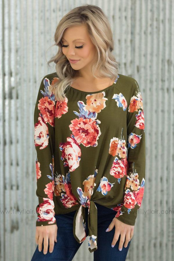 Let It Be Long Sleeve Floral Tie Top In Olive - Filly Flair