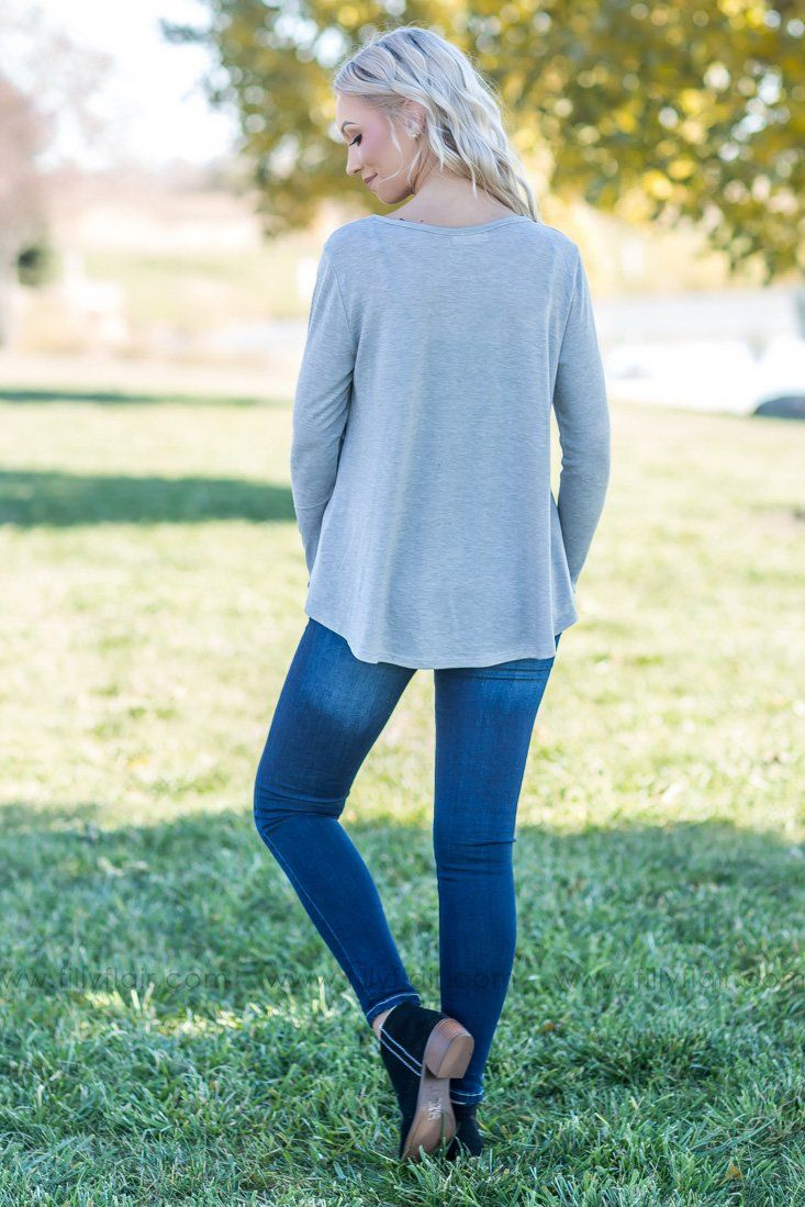 All In Floral Long Sleeve Top In Grey - Filly Flair