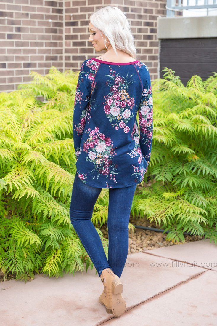 Just The Way I Am Long Sleeve Floral Top In Navy - Filly Flair
