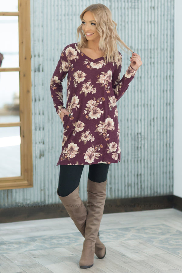 Feeling Floral Long Sleeve V-Neck Pocket Tunic in Burgundy - Filly Flair