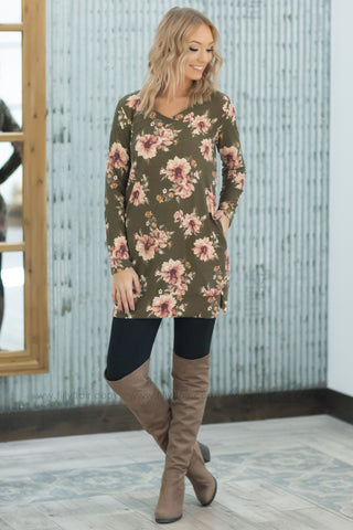 It Cannot Wait Floral Hoodie In Dark Olive