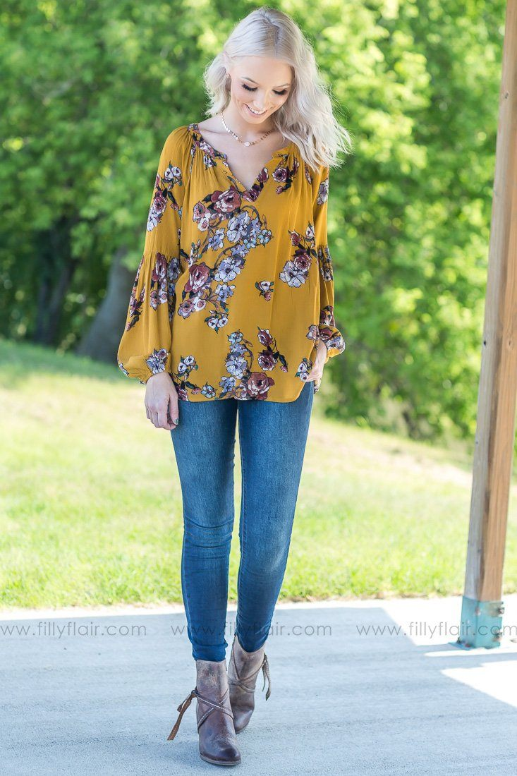Take My Hand Floral Top In Mustard - Filly Flair