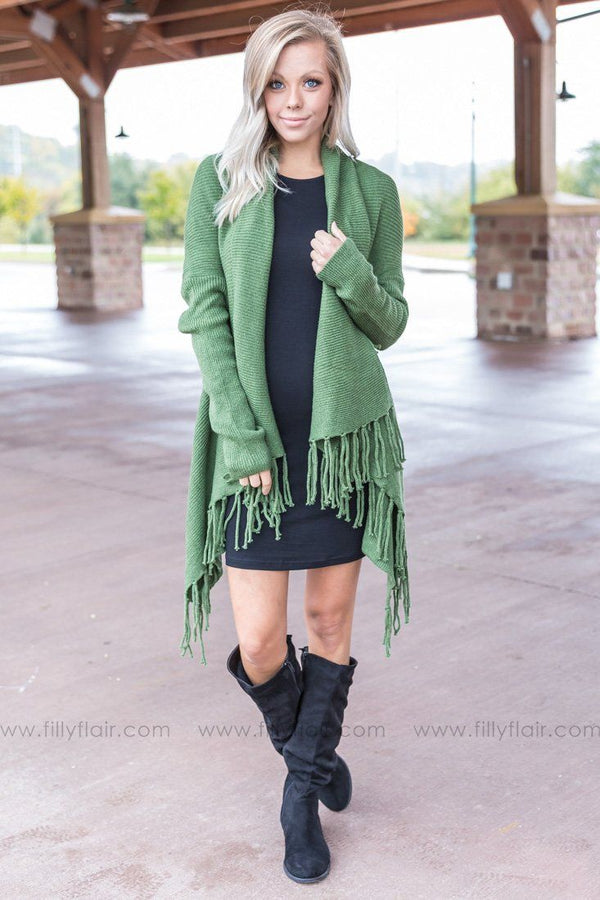 Everywhere You Go Fringe Trim Waterfall Cardigan in Olive - Filly Flair
