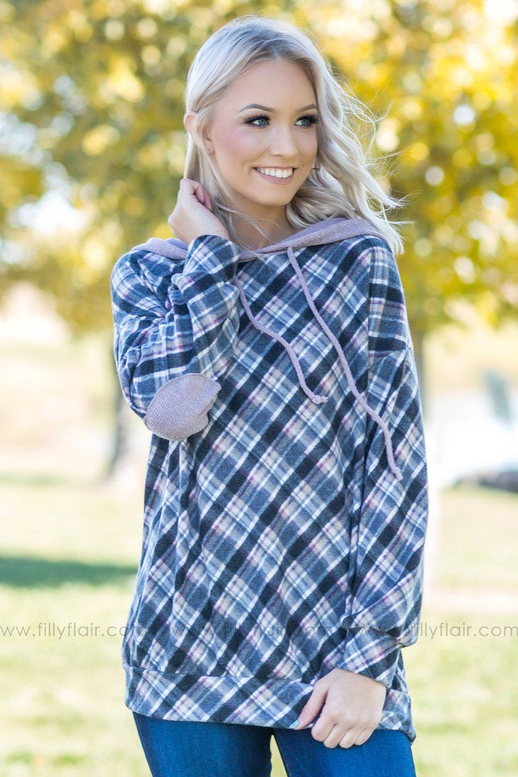 Time To Change Fleece Plaid Hooded Top in Dusty Purple - Filly Flair